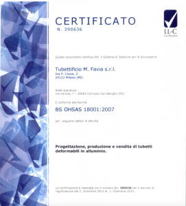 Copertina TUBETTIFICIO FAVIA BS OHSAS 18001